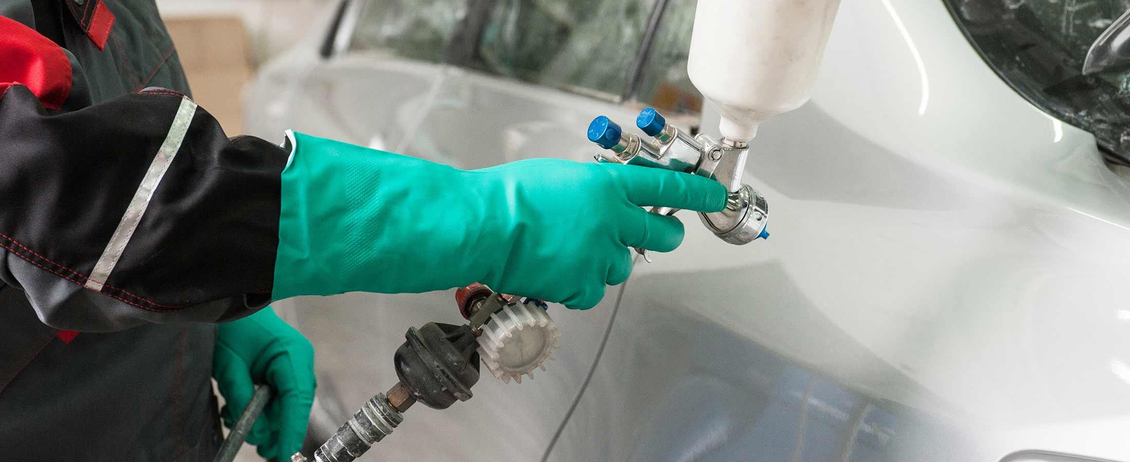 Car panel repair with spray gun