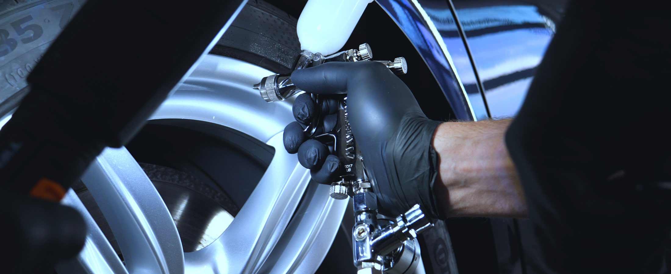 Mobile dent repair using spray gun